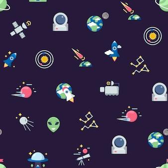 Vlakke ruimte pictogrammen patroon of illustratie