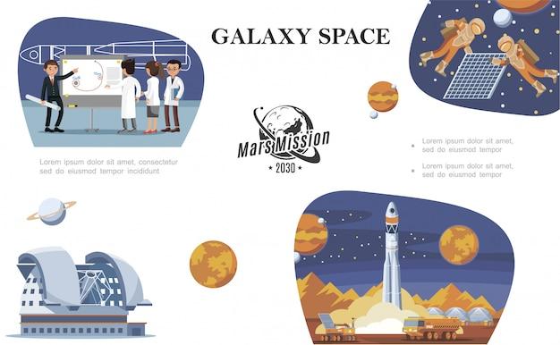 Vlakke ruimtesamenstelling met wetenschappers, astronauten in de ruimte, planetariumplaneten, maanrover en raketlancering