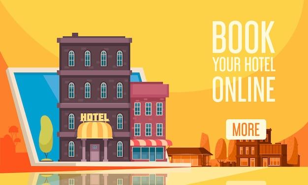 Vlakke samenstelling van het hostel voor het boeken van reizen met boek uw hotel online en meer knop