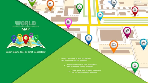 Vlakke samenstelling van het navigatiesysteem