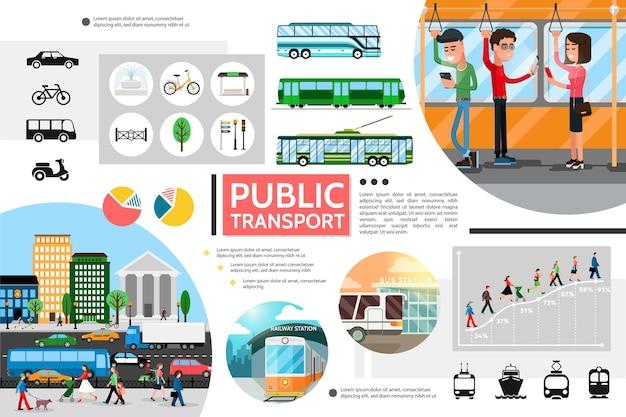 Vlakke samenstelling van openbaar vervoerelementen met bus trolleybus metro fiets licht verkeer passagiers stad