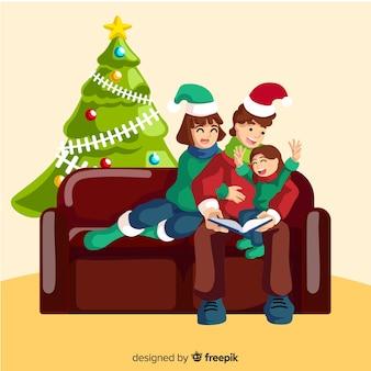 Vlakke scène van de familie van kerstmis