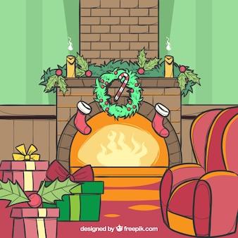 Vlakke scène van de kerstmisopen haard met cadeaus