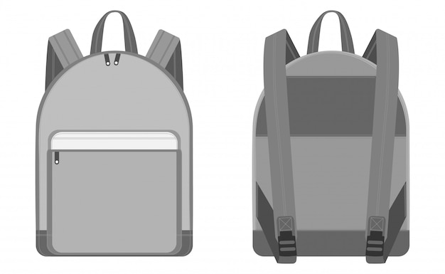 Vlakke schetsen rugzak vector illustratie