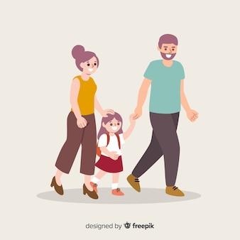 Vlakke schoolkinderen met ouders