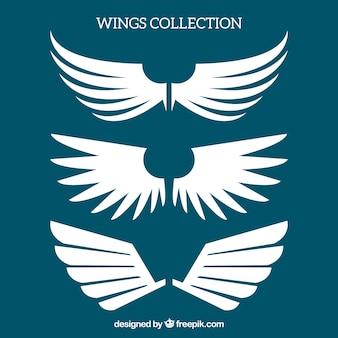 Vlakke set witte vleugels