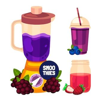 Vlakke smoothies in de illustratie van het blenderglas