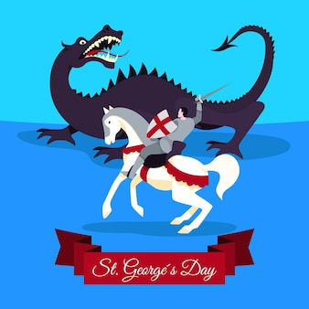 Vlakke st. george's day illustratie met draak en ridder
