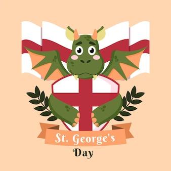 Vlakke st. george's day illustratie met draak en schild
