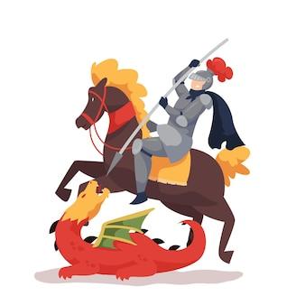 Vlakke st. george's day illustratie met ridder en draak