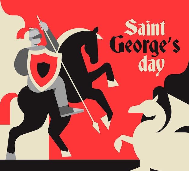 Vlakke st. george's day illustratie met ridder