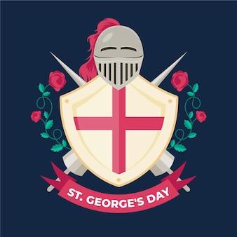 Vlakke st. george's day illustratie met ridderpantser en schild