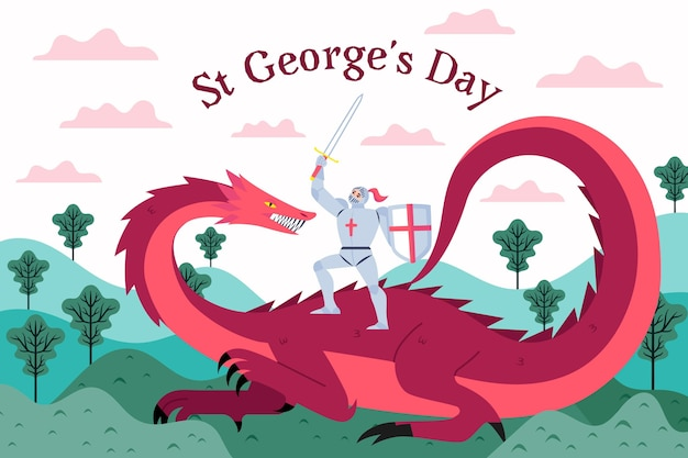 Vlakke st. george's day illustratie