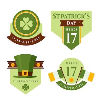 Vlakke st. patrick's day badge-collectie