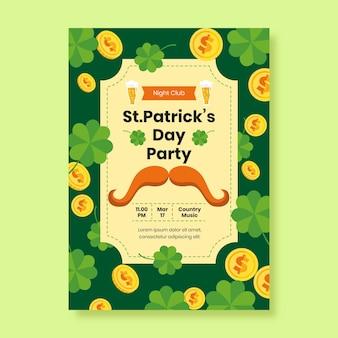 Vlakke st. patrick's day poster sjabloon