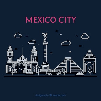 Vlakke stad van mexico bij nachtachtergrond