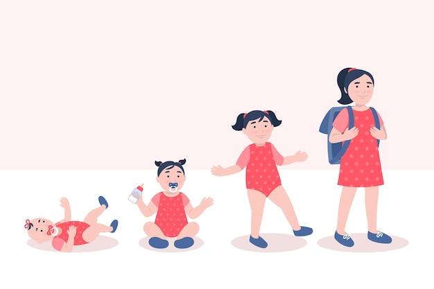 Vlakke stadia van de illustratie van een babymeisje