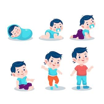 Vlakke stadia van een babyjongencollectie