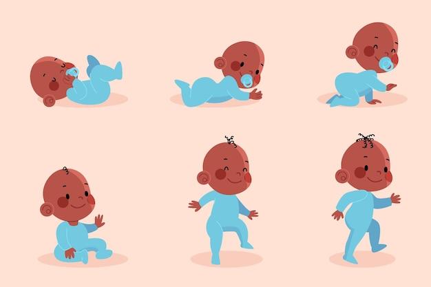 Vlakke stadia van een babyjongenpakket