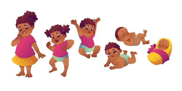 Vlakke stadia van een illustratie van een babymeisje