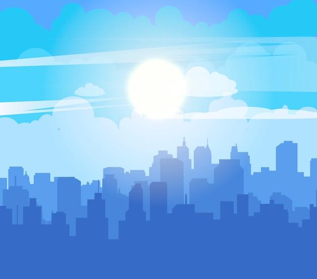 Vlakke stadsgezicht met blauwe lucht