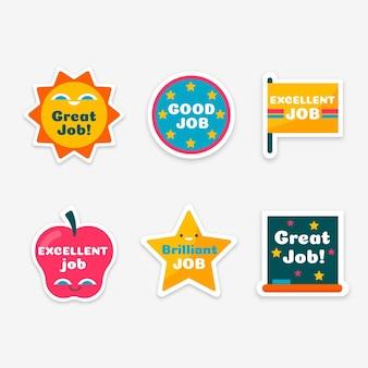 Vlakke stickers voor goed werk en geweldig werk