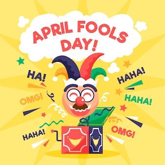 Vlakke stijl april dwazen dag