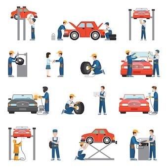 Vlakke stijl auto reparatieservice banden montage diagnostiek voertuig schilderij lassen lift raam vervanging reserveonderdelen werknemer spullen op het werk pack set. verzameling van transportobjecten voor zakelijke diensten.