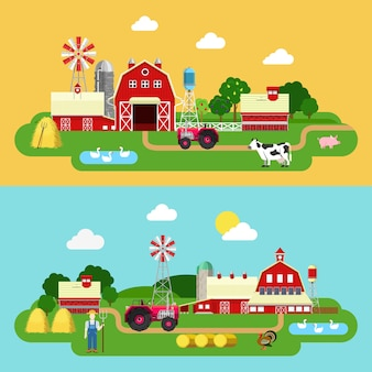 Vlakke stijl boerderij groene planten grondgebied leven buiten banner bouwen. tractor koe gans boer koeienstal schuur byre kraam. landbouw landbouwconcepten collectie.