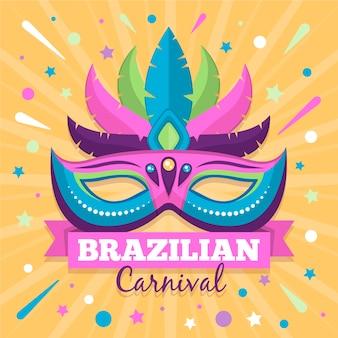 Vlakke stijl braziliaanse carnaval met masker