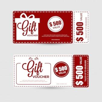 Vlakke stijl cadeaubon of coupon lay-out met de beste aanbiedingen.