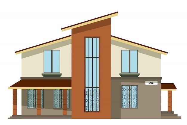 Vlakke stijl. cartoon gebouw. modern privéhuis van twee verdiepingen met een schuin dak