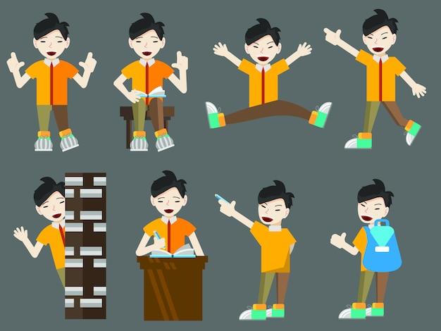 Vlakke stijl cartoon set jonge aziatische jongen student met boeken en tassen