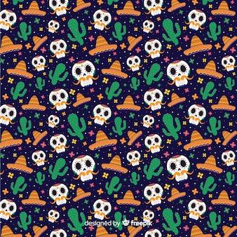 Vlakke stijl día de muertos naadloze patroon