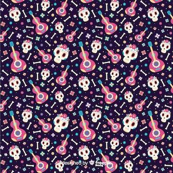 Vlakke stijl día de muertos patroon