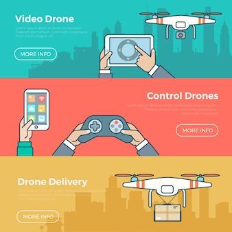 Vlakke stijl drone quadcopter levering concept web infographic vector banner