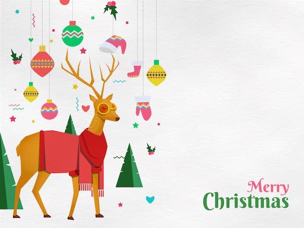 Vlakke stijl festivalelementen zoals hangende kerstballen, kerstkleding.