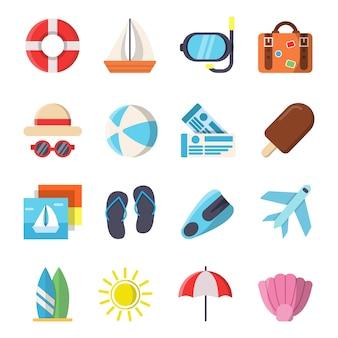 Vlakke stijl foto's van zomer reizen symbolen