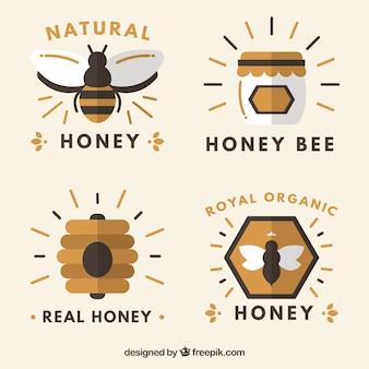 Vlakke stijl fun badges voor honing