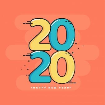 Vlakke stijl gele en blauwe 2020-tekst op oranje achtergrond.