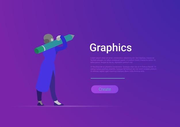 Vlakke stijl grafisch ontwerp vector banner sjabloon illustratie Gratis Vector