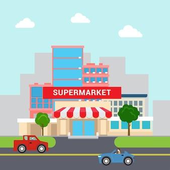 Vlakke stijl grappige cartoon supermarkt winkelcentrum gebouw verkoop parkeerplaats en transportstraat. zakelijke marketingcollectie.