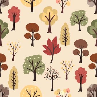 Vlakke stijl herfst bomen op gele naadloze patroon