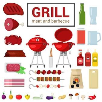 Vlakke stijl hoge detail kwaliteit icon set van grill vlees barbecue bbq-objecten houtskool snijplank aubergine peper ui ketchup mosterd spies kebab voedsel drank koken keuken buiten