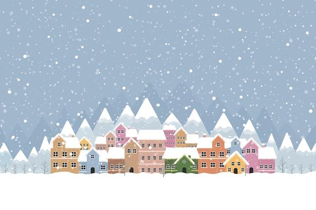 Vlakke stijl in de winterstad met vallende sneeuw en berg 001