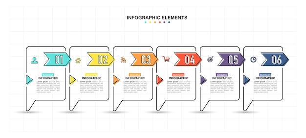 Vlakke stijl infographic sjabloon met 6 stappen