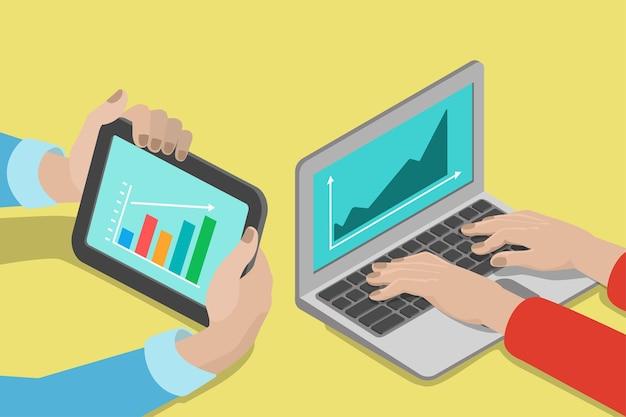 Vlakke stijl isometrische handen laptop tablet met grafiek rapport concept. mensen lichaamsdelen op computer elektronica zakelijke financiën marketing. creatieve bedrijfscollectie.