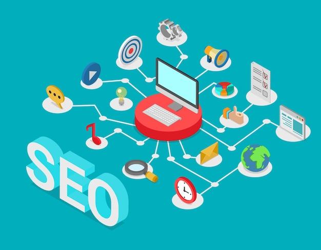Vlakke stijl isometrische seo zoekmachine optimalisatie creatief webtechnologie concept.
