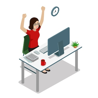 Vlakke stijl isometrische zakenvrouw manager accountant handen opsteken. succes in zaken, goed gedaan concept van de werktaak. creatieve mensencollectie.