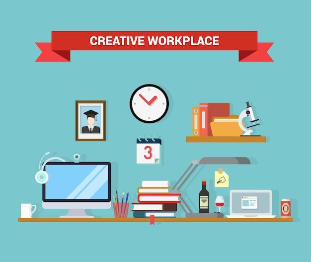Vlakke stijl kantoor aan huis interieur computer laptop afgestudeerde student werkplekconcept objecten. outsourcing verre werk telewerk conceptuele afbeelding.